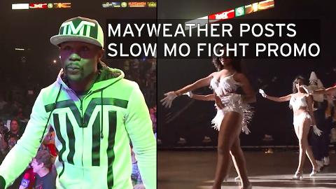 Flloyd Mayweather posts slow motion walk-through of him and the ladies approaching the pre-fight press conference