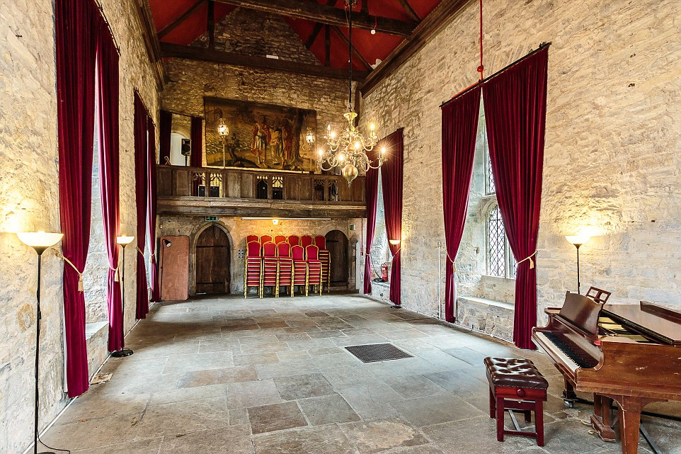 Fit for a maestro: Wyecroft Hall comes complete with a concert hall (pictured) - which a 100 person capacity - and a minstrel's gallery