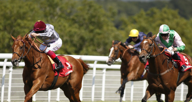 Frankie Dettori rides Dubday (left) to victory in the Betfred Glorious Stakes
