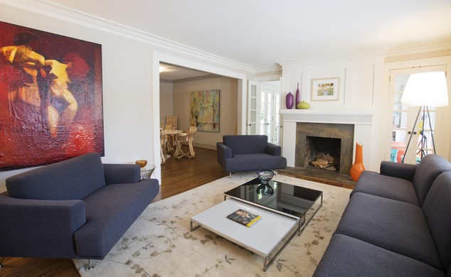 This is an interior view of the living room in a three bedroom house listed for sale at $1,095,000 on Wednesday, July 30, 2014, in the Sherwood Forest neighb...
