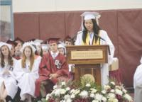 Sisi Lui delivers her salutatory address at Groton-Dunstable Regional Highs commencement Friday evening.sun/dianne bunisSun staff photos can be