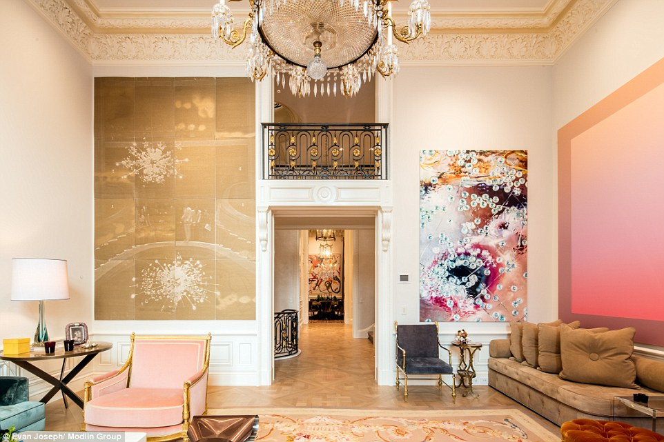 The luxurious living room in the 15,000 sq ft townhouse, located on the Upper East Side of the city