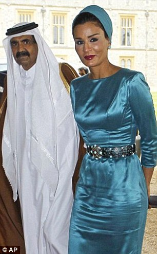 Sheikha Mozah bint Nasser Al Missned (right), one of the three wives of Sheikh Hamad bin Khalifa Al Thani (left) purchased the site for estimated an £120million in 2013