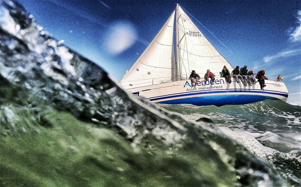 Race action in the Sunsail First 40 Match class during The Aberdeen Asset Management Cowes Week in the Solent
